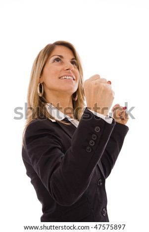 Business woman with her arms outstretched celebrating something