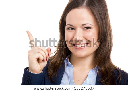 Business woman with her finger on the air, isolated over white