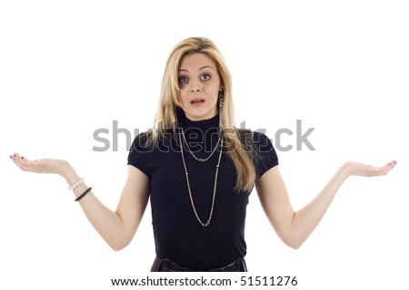 Business woman with her hands up, good for placing objects on her hands, she looks confused or indecisive, isolated on white.