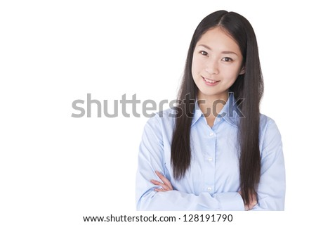 Business woman with his arms folded - stock photo