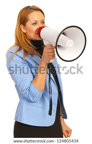 Business woman with loudspeaker  looking away isolated  on white background - stock photo