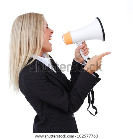 business woman with megaphone isolated white background