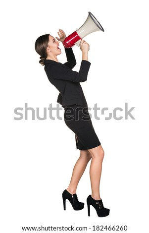 Business woman with megaphone yelling and screaming isolated on white background - stock photo