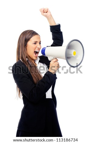 Business woman with megaphone yelling and screaming isolated on white background with suit and high heels - stock photo