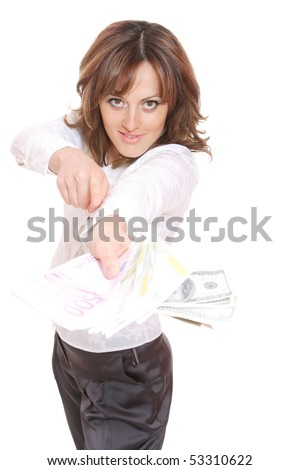 Business woman with money in front of the white background