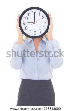 business woman with office clock covering face isolated on white background