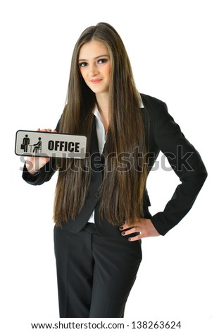 "Business Woman with 'Office"" Sign (3/4 view) - stock photo"