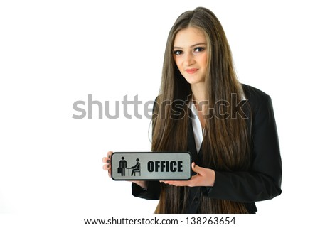 "Business Woman with 'Office"" Sign (1/2 view) - stock photo"
