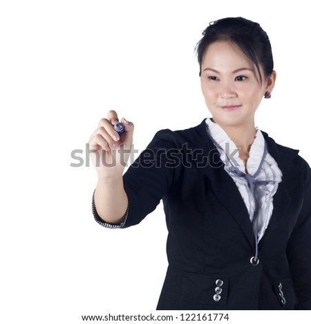 Business woman with pen writing or drawing on the screen. Isolated on white background. Model is Asian woman. - stock photo