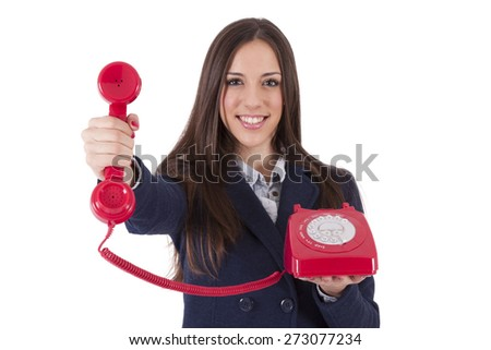 business woman with retro phone - stock photo
