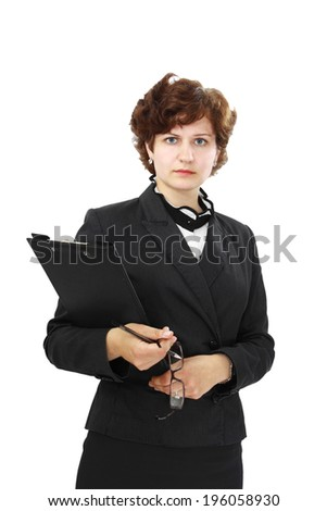 Business woman with serious face and with folder in hand isolated on white background