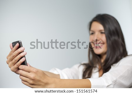business woman with smartphone - stock photo