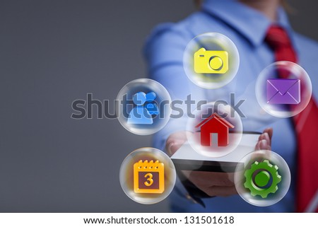 Business woman with smartphone accessing applications - with copy space