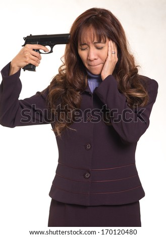 Business woman  with suicidal intent - stock photo