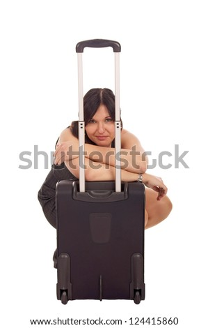 Business woman with suitcase / Business woman - stock photo