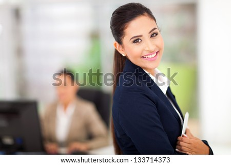 business woman with tablet computer in the business center