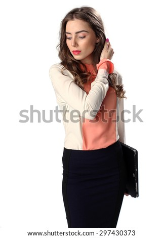Business woman with tablet computer isolated on white