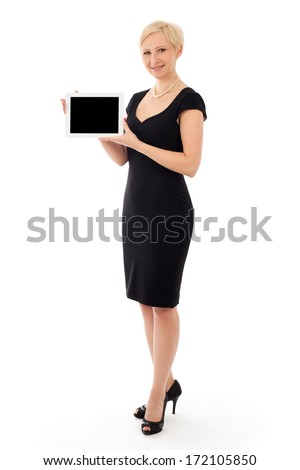 Business woman with tablet, isolated on white - stock photo