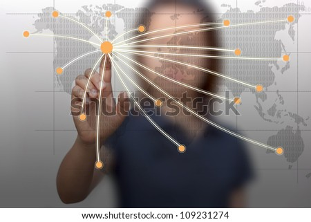 Business woman with technology. - stock photo