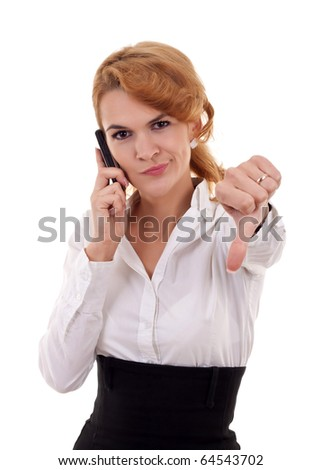 business woman with thumb down gesture and mobile phone