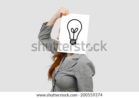 Business woman with white board and advertisement concept  - stock photo