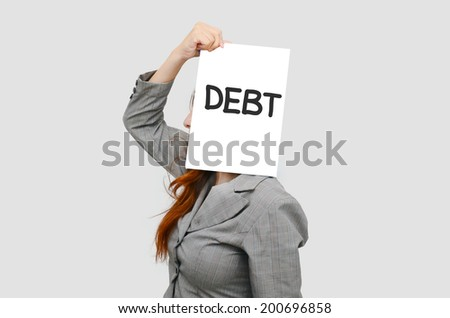 Business woman with white board and debt concept  - stock photo