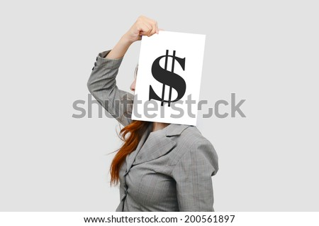Business woman with white board and US dollar sign,money concept