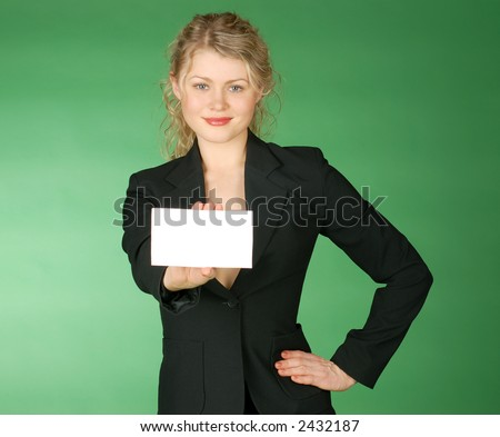 business woman with white leaf for text - stock photo