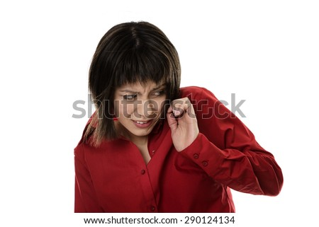 business woman with windswept hair blowing from the side - stock photo