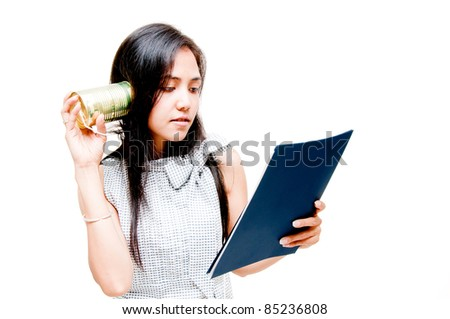 business woman working during call by tin can phone