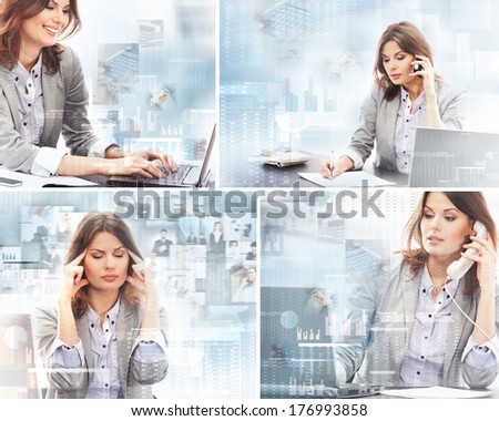 Business woman working in office over the modern abstract background - stock photo