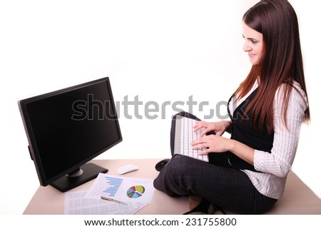 Business woman working on pc at office  - stock photo