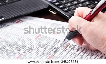 Business woman working with documents in office