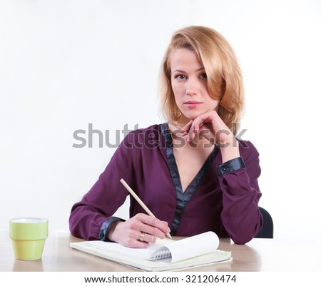 Business woman working with paper - isolated over white