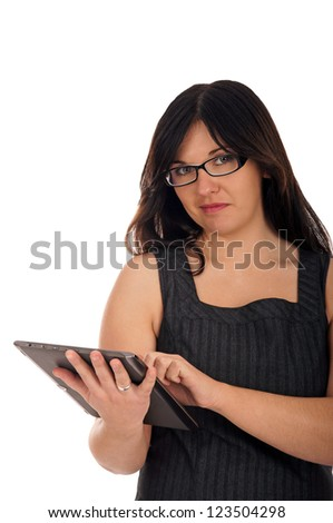 Business woman working with tablet computer / Business woman - stock photo