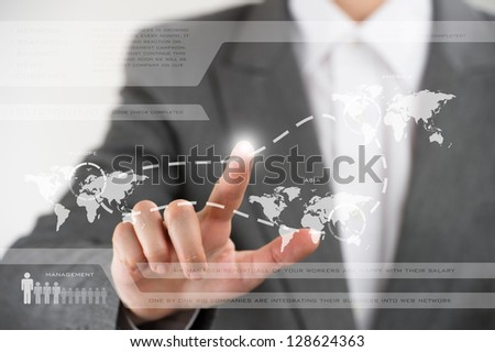 Business woman working with virtual interface. Globalization and technology concept
