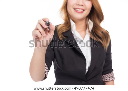 Business woman write with pen