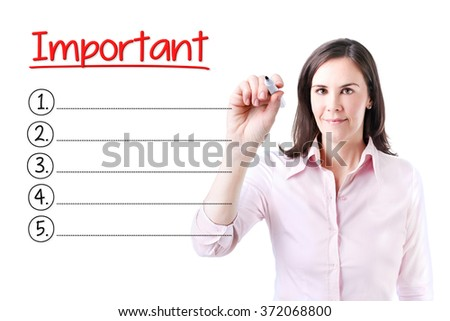 Business woman writing blank Important list. Isolated on white.  - stock photo