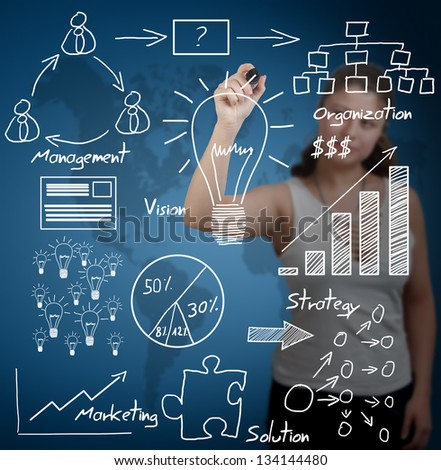 business woman writing business idea concept on transparent whiteboard - with blue world map background