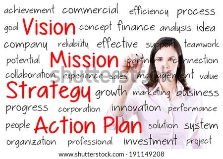 Business woman writing business model.  - stock photo
