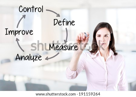 Business woman writing improvement process concept. Office background.  - stock photo