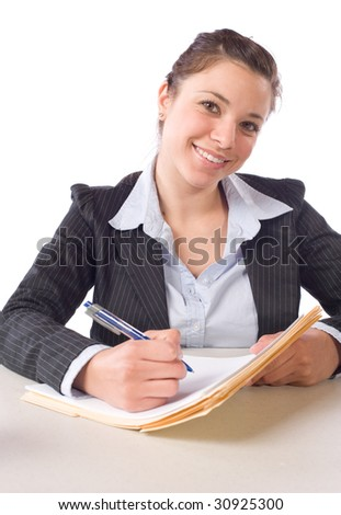 Business Woman Writing notes at desk isolated on white