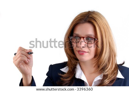 Business Woman Writing On Glass With A Felt Tip Pen, Isolated Over White