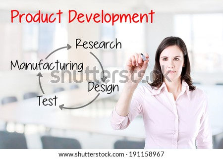 Business woman writing product development concept. Office background.