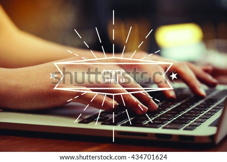 Business woman writing Stats on the computer - stock photo