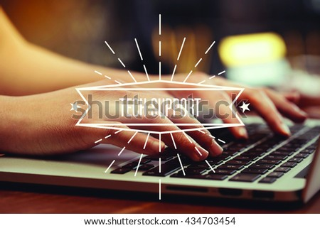 Business woman writing Tech Support on the computer - stock photo