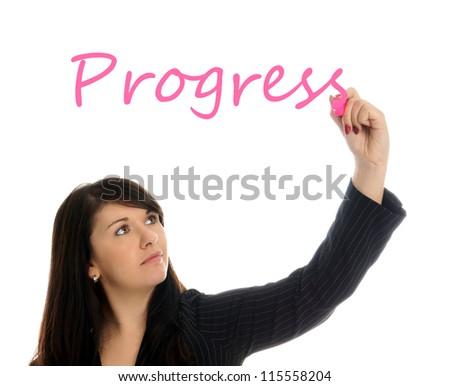 Business Woman writing the word Progress / Business Woman - stock photo