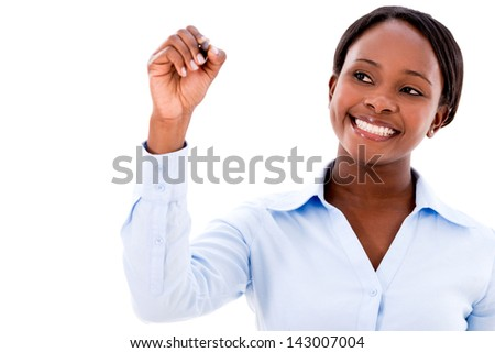 Business woman writing with a pen - isolated over white background - stock photo