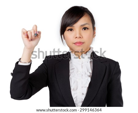 business woman writing with pen on virtual screen with copy space for text or design. Beautiful young smiling Asian / Caucasian professional isolated on white background. - stock photo