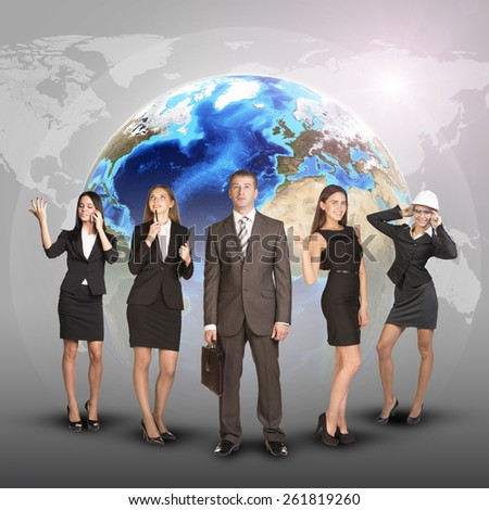 Business women and men in suits, smiling and looking at camera. Against the background of globe and world map. Elements of this image furnished by NASA - stock photo